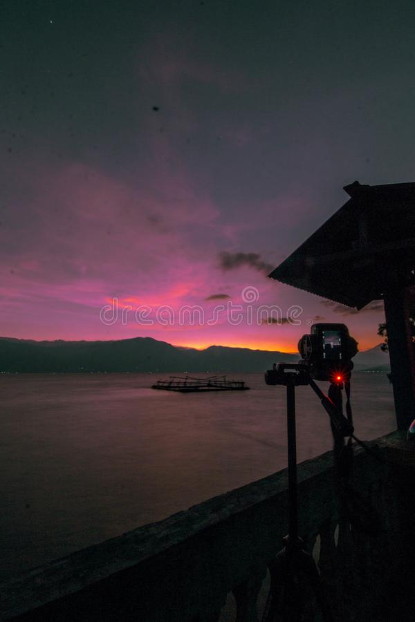Take pictures at Singkarak lake. The beauty of the afternoon on the lake of the Cikarang makes the heart shaken to capture this scene, Indonesia stock photos