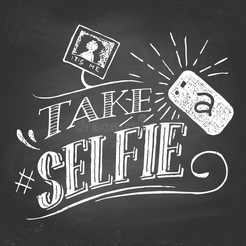 Take a selfie on blackboard vector illustration