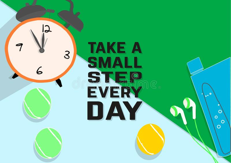 Take a small step everyday. Fitness motivation quotes. Sport concept. stock illustration