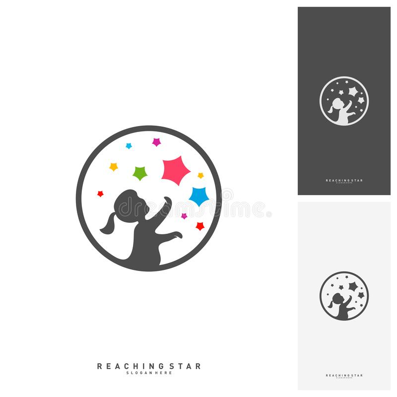 Take a Star Logo Design Template Vector. Reaching Stars Logo Concepts. Creative Symbol - Vector vector illustration