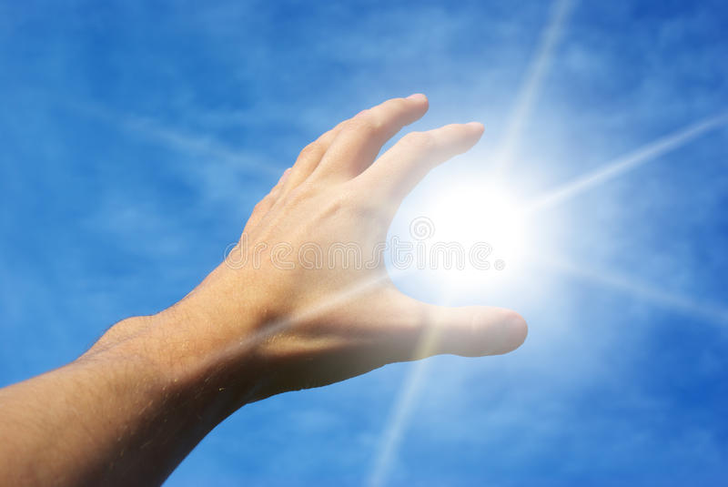 Download Take the sun stock photo. Image of finger, blue, horizon - 13346616
