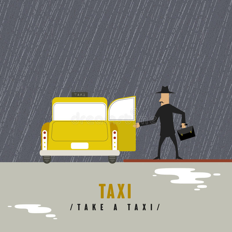 Take a taxi concept. In flat design style royalty free illustration