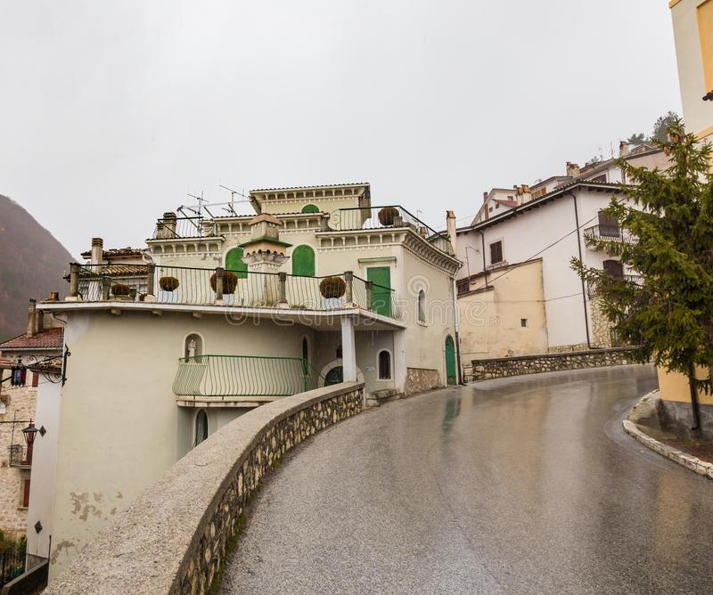 Take to the center of the village, Villetta Barrea, Abruzzo, Italy. October 13, 2017 royalty free stock image