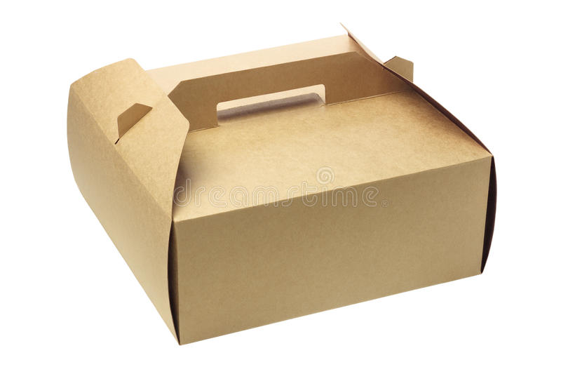 Takeaway Cake Box. On White Background royalty free stock images