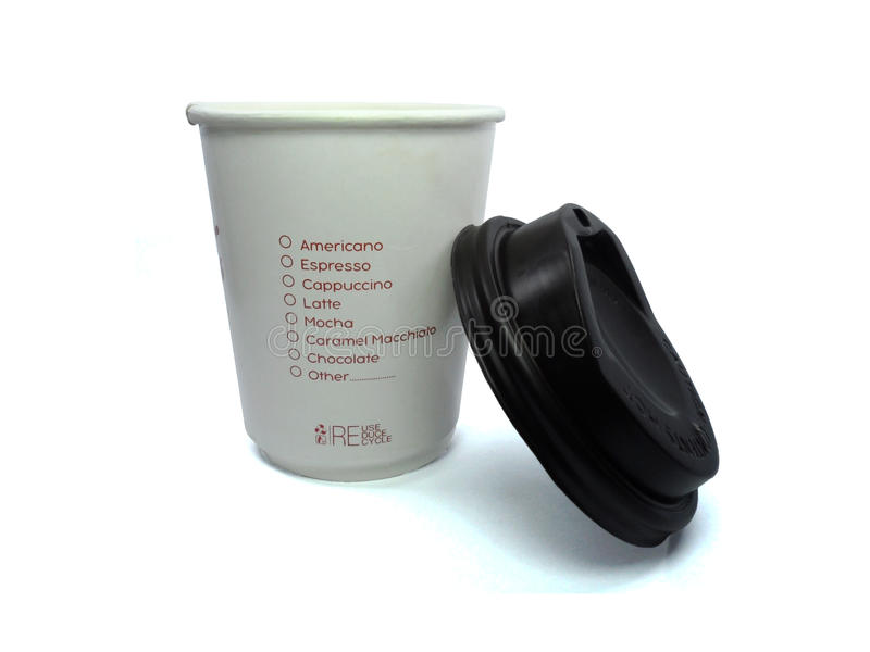 Takeaway coffee cup. White paper cups with closed black caps, background,Selected the `Chocolate` taste of coffee stock photos