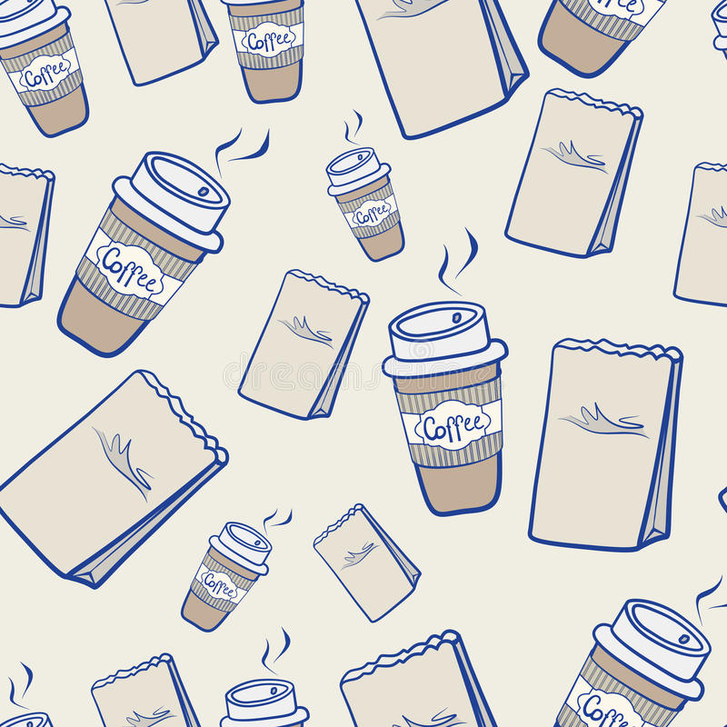 Takeaway coffee and paper packets vector illustration