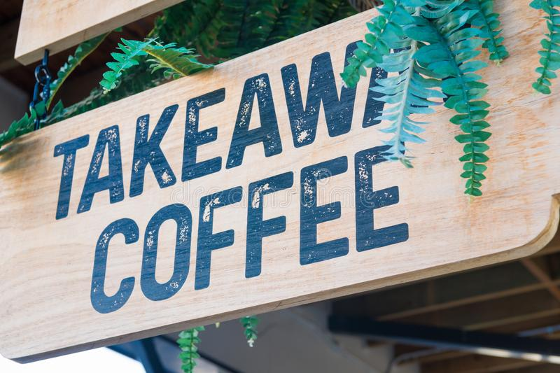 Takeaway coffee sign stock photography