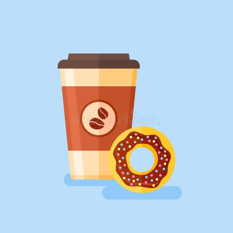 Takeaway del café con el buñuelo esmaltado del chocolate Ejemplo plano del vector del estilo stock de ilustración
