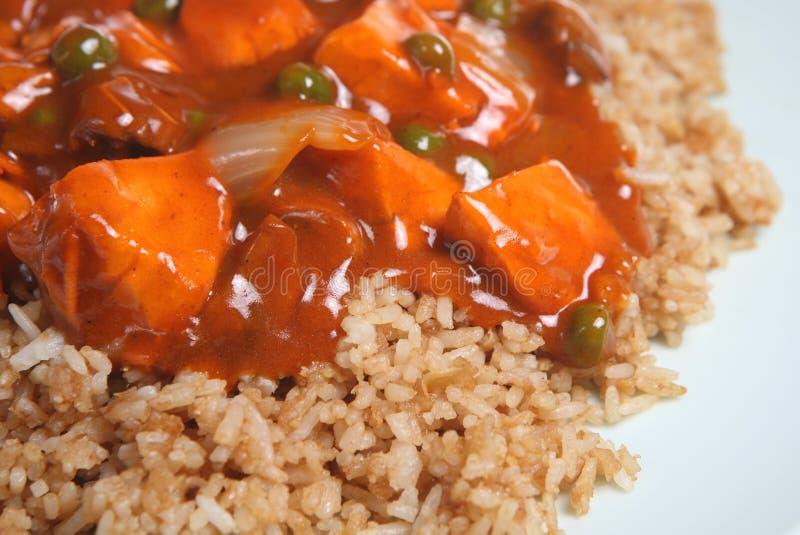 Takeaway del curry del pollo de Cinese foto de archivo