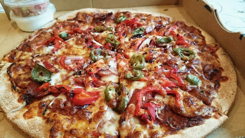 Takeaway della pizza - pizza messicana fotografia stock libera da diritti
