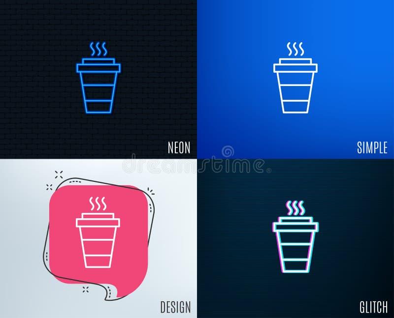 Takeaway kawy linii ikona Gorący napoju znak ilustracja wektor