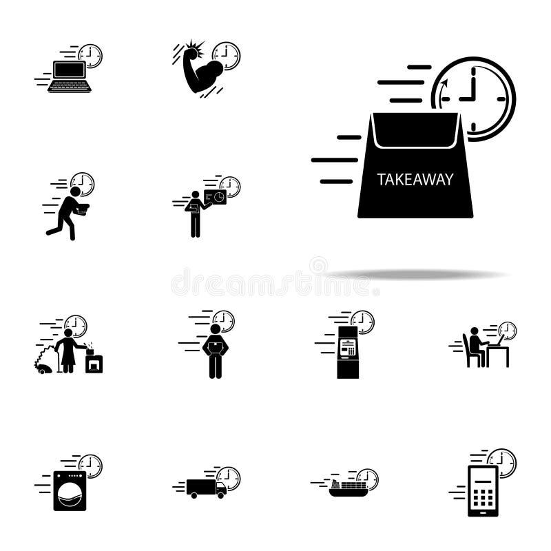 takeaway leveranshastighetssymbol Universell uppsättning för hastighetssymboler för rengöringsduk och mobil vektor illustrationer