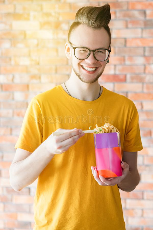 Takeaway meal millennial noodles box yummy spicy royalty free stock photography