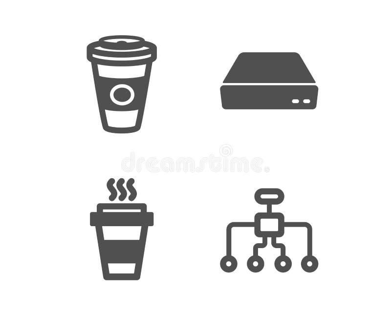Takeaway, mini- PC och Takeaway kaffesymboler Omstruktureringstecken För avhämtning kaffe, dator, varm lattedrink vektor royaltyfri illustrationer