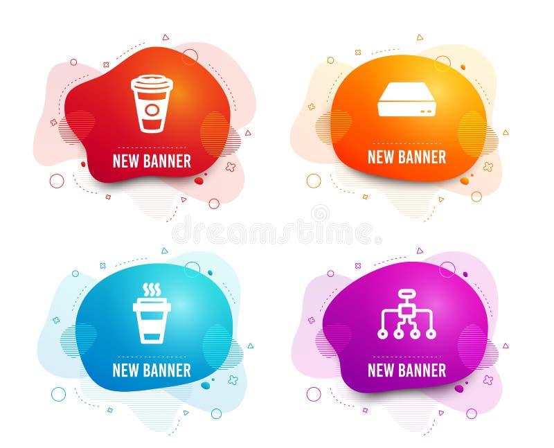 Takeaway, mini- PC och Takeaway kaffesymboler Omstruktureringstecken För avhämtning kaffe, dator, varm lattedrink vektor stock illustrationer