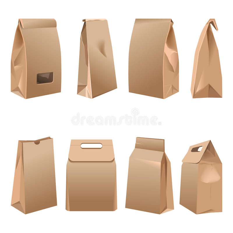 Takeaway paper bags set on white vector illustration royalty free illustration