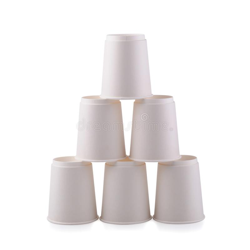 Takeaway White paper coffee cup isolated on a white background.  stock photography