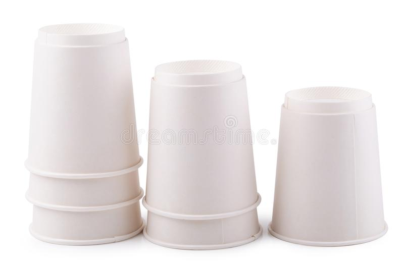 Takeaway White paper coffee cup isolated on white background. Takeaway White paper coffee cup isolated on a white background royalty free stock photo
