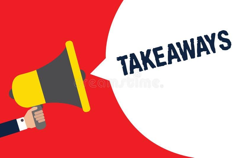 Takeaways för textteckenvisning Begreppsmässigt foto en handling eller ett exempel av att ge något från dig till någon den hållan stock illustrationer