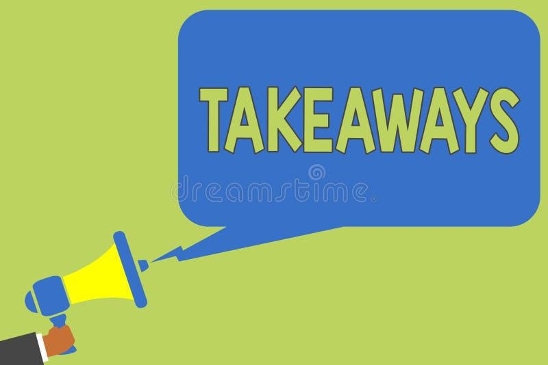 Takeaways för textteckenvisning Begreppsmässigt foto en handling eller ett exempel av att ge något från dig till någon den hållan vektor illustrationer