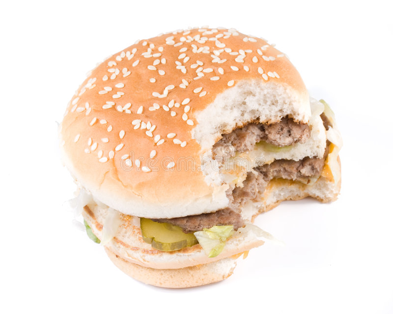 Download The taken a bite hamburger stock image. Image of beef - 5301263
