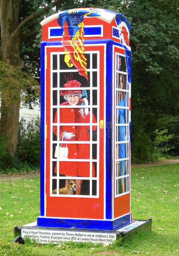 `Ring a Royal Phonebox` painted by Timmy Mallett in aid of Childline`s 25th. Taken in Clifton Village, Bristol, United Kingdom royalty free stock images