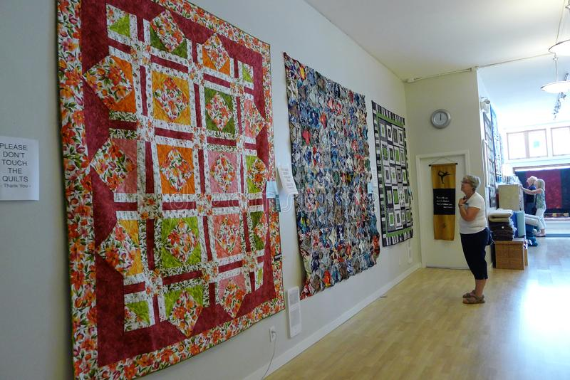 Patchwork Quilt on the Wall stock photography