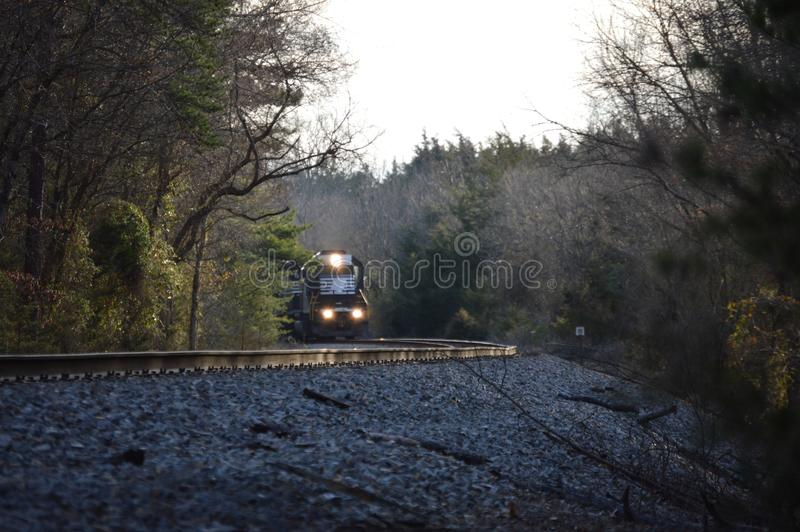 Train coming through rural Virginia royalty free stock photography