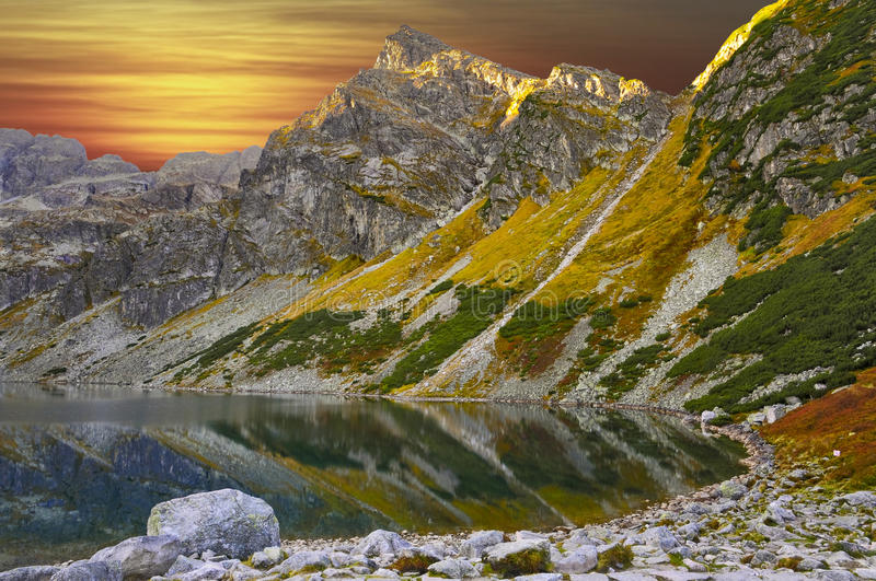 Taken at the peak of color during the sunset. At Tatra Mountains, Poland royalty free stock photography