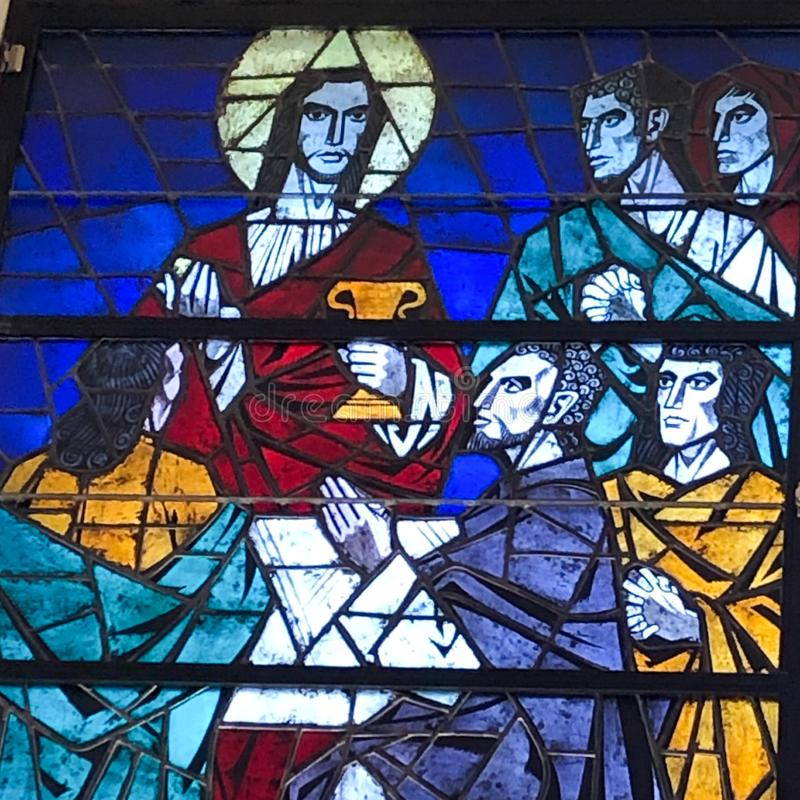 Stained Glass image of the Last Supper royalty free stock image