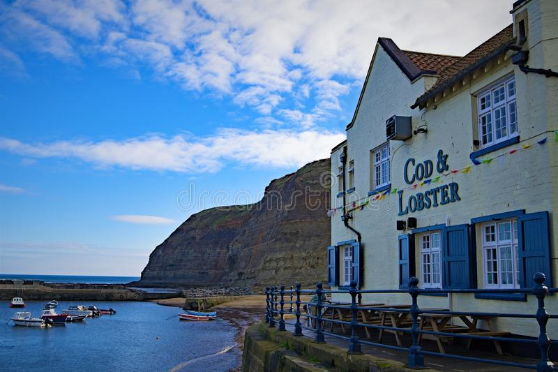 Cod and Lobster, in Staithes, near Scarborough, in North Yorkshire. royalty free stock images