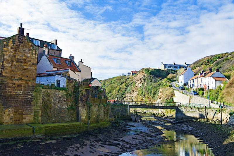 Inland View of Staithes river, near Scarborough, in North Yorkshire. stock photo