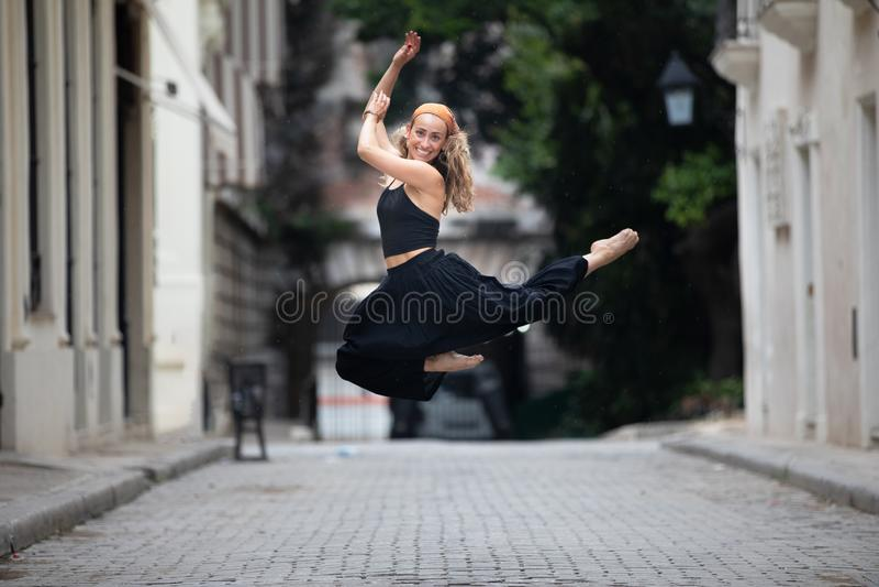 Girl enjoying vacation in Havana, Cuba stock photo