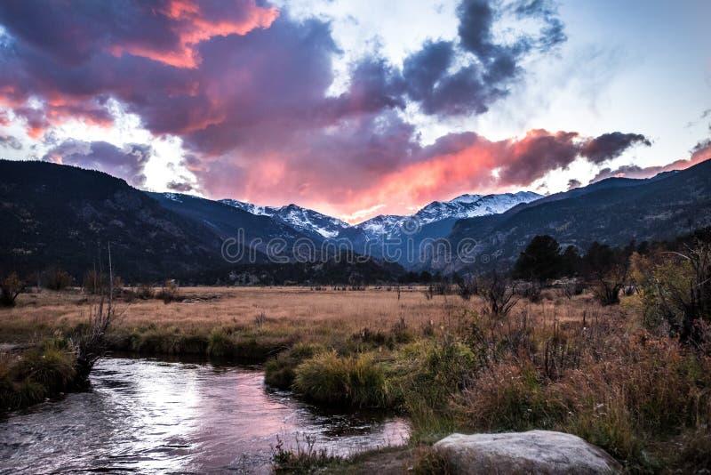 Rocky Mountain National Park at Sunset. Taken in the valley of Rocky Mountain National Park at sunset stock image