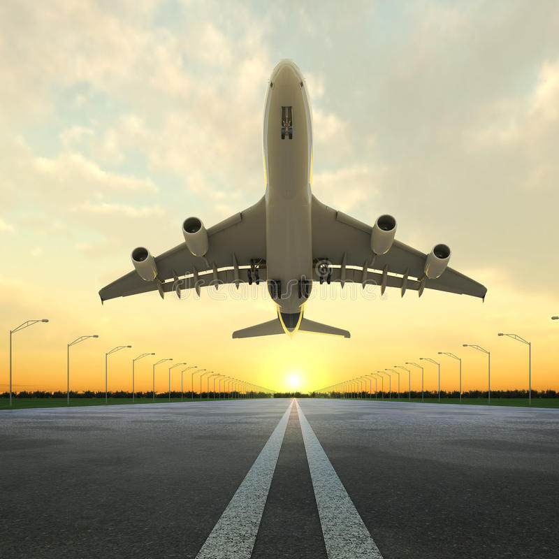 Takeoff Plane In Airport At Sunset Royalty Free Stock Photo