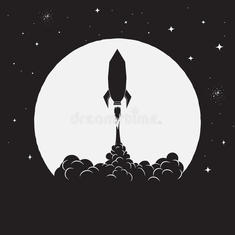 Takeoff of rocket. On Moon background to space.Vector illustration royalty free illustration