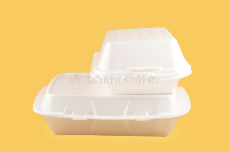 Takeout containers. Two different sized takeout styrofoam food containers stock image