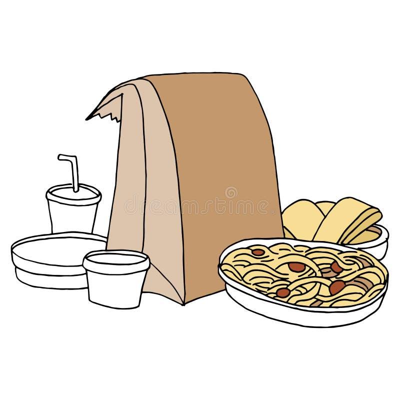 Takeout Italian Food royalty free illustration