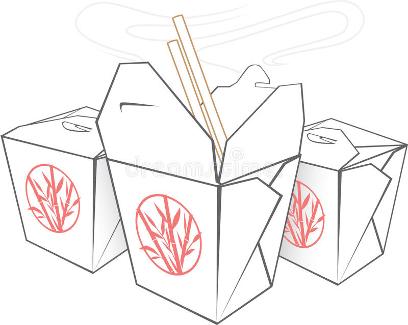 Takeout kines vektor illustrationer
