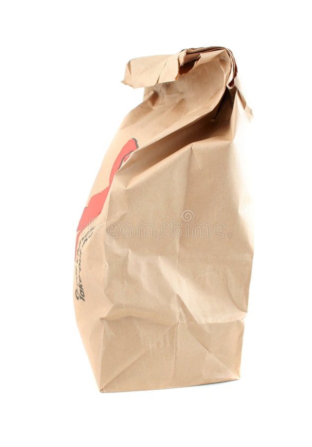 Takeout paper bag. Brown paper bag from a takeout food restaurant royalty free stock images