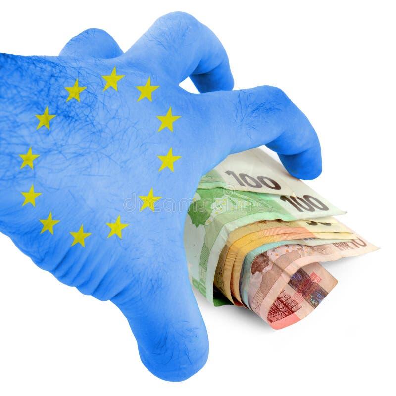 takes för eurohandpengar royaltyfri foto