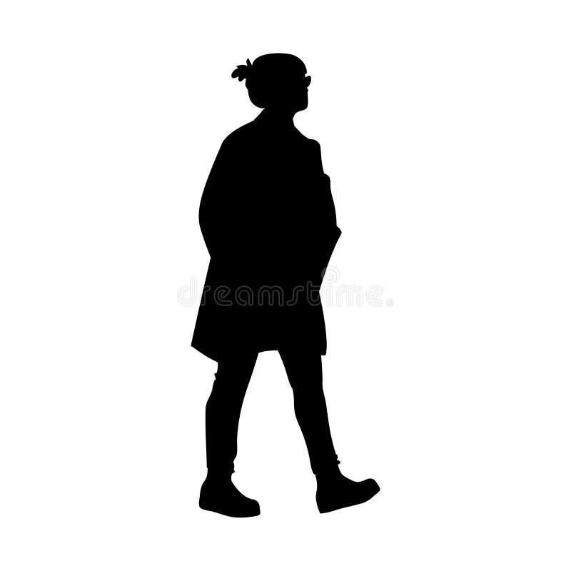 takes g?r kvinnan Begrepp Vektorillustration av konturn av att g? kvinnan stencil Svart kontur som isoleras p? stock illustrationer
