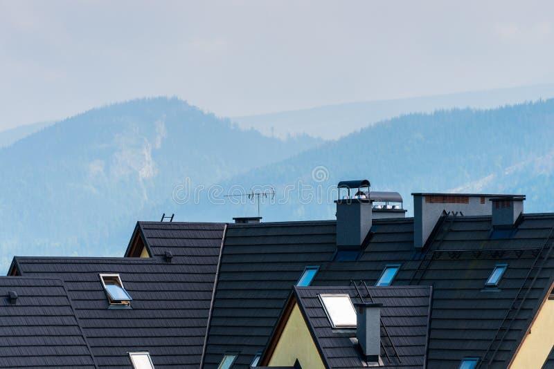 Taket av villan är närbilden mot bakgrunden av moen royaltyfri bild
