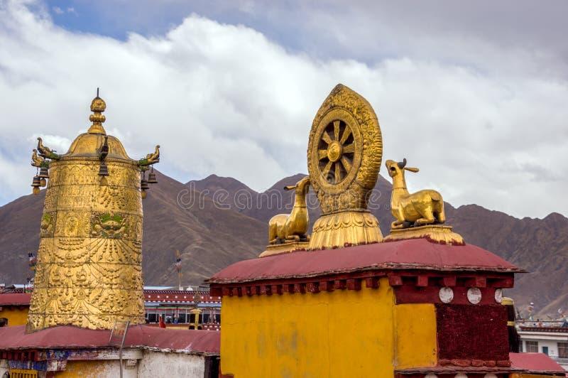 Taket Dharma rullar in den Jokhang templet - Lhasa, Tibet arkivfoto