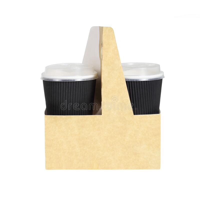 Takeway Drinks in a Holder With Handle stock images