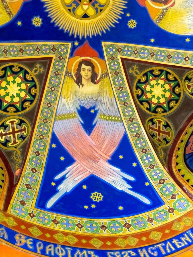 Takfrescoes med ängel i jugendstilstil royaltyfri fotografi