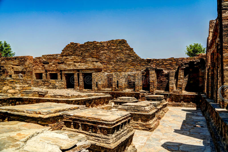 Takht-i-Bhai Parthian arkeologisk plats och buddistisk kloster Pakistan royaltyfria bilder