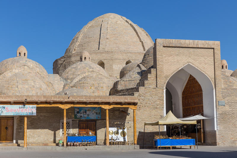 Taki-Zargaron,布哈拉义卖市场,在乌兹别克斯坦 免版税图库摄影