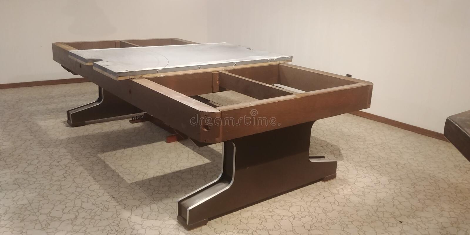 Taking apart a pool table royalty free stock image