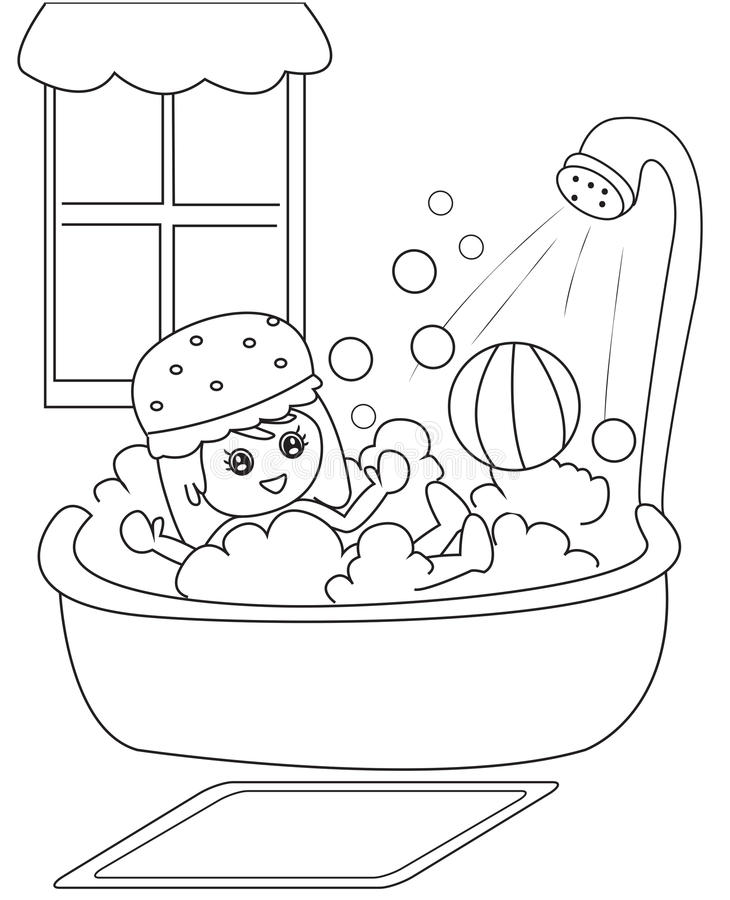 Taking A Bath Coloring Page Stock Illustration - Illustration of ...